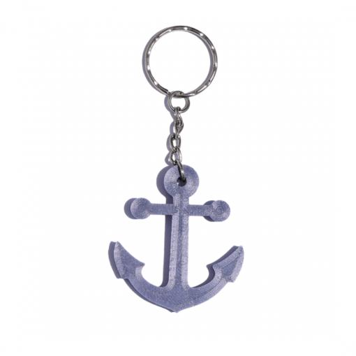 Porte-clés ancre marine en impression 3D violet
