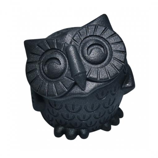 Figurine chouette en impression 3D noir pailleté