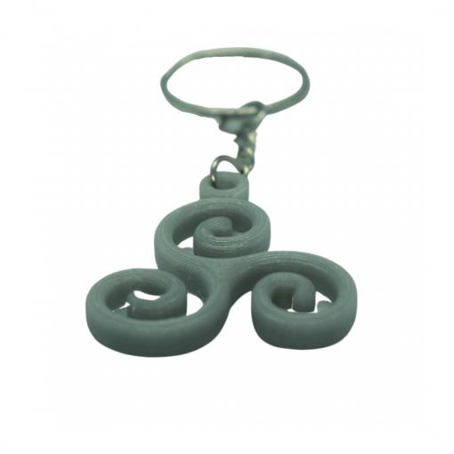 Porte-clé Triskèle en Impression 3D gris clair