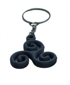 Porte-clé Triskèle en Impression 3D gris foncé