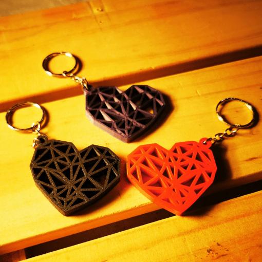 Porte-clés Coeur géométrique en impression 3D