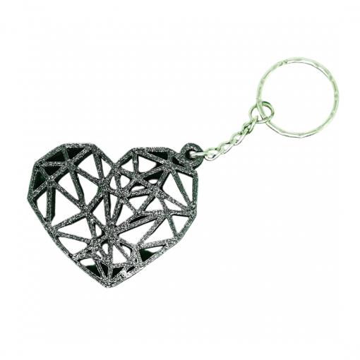 Porte-clés Coeur géométrique en impression 3D noir pailleté
