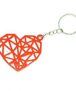 Porte-clés Coeur géométrique en impression 3D rouge