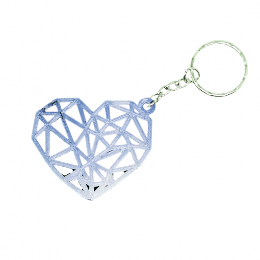 Porte-clés Coeur géométrique en impression 3D violet