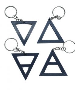 Porte-clés éléments alchimique triangle gris foncé