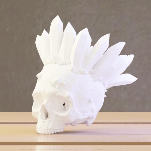 Reproduction crâne humain avec cristaux couronne en impression 3D
