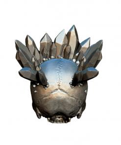Reproduction crâne humain avec cristaux couronne en impression 3D arrière