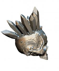 Reproduction crâne humain avec cristaux couronne en impression 3D droite