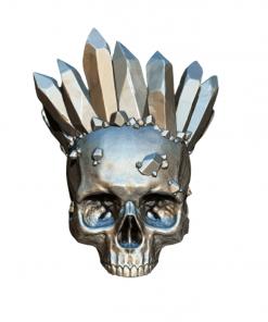 Reproduction crâne humain avec cristaux couronne en impression 3D face