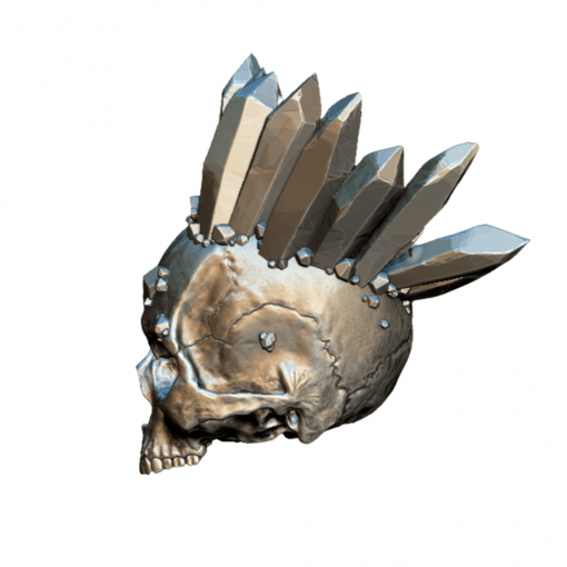 Reproduction crâne humain avec cristaux couronne en impression 3D gauche