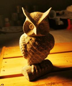 Statues Chouette effet pierre en impression 3D