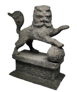 Statues Lion gardien chinois effet pierre avant