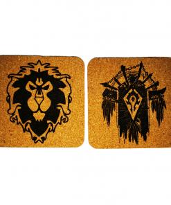 Sous-verres 9.5×9.5×0.2cm World of Warcraft en gravure laser monochrome sur liège autocollants