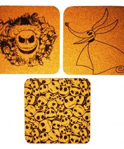 Sous-verres 9.5×9.5×0.2cm L'étrange noël de Mr Jack en gravure laser monochrome sur liège autocollants